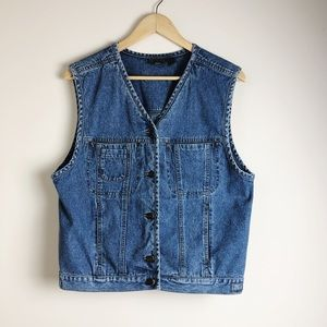 Vintage Women's Liz Wear V-Neck Denim Vest